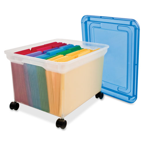 Mobile File Tote Holds Letter Size Standard Folders Or Hanging Folders.  Design Features A Clear Base And Blue Lid And Rolls Easily On The Included  Set Of ...