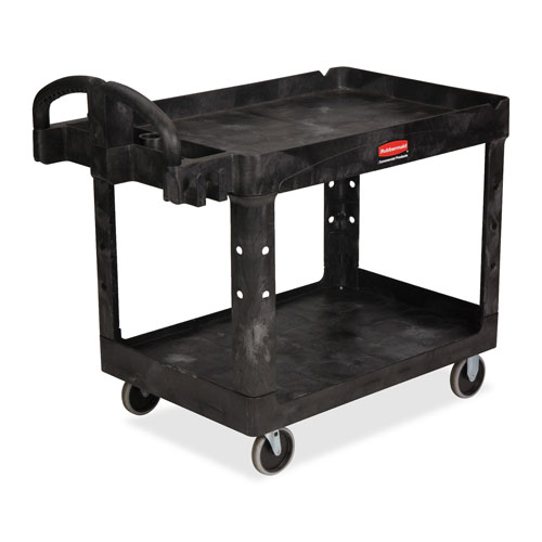 "Utility cart, 2-shelf, w/lip, hvydty, 26""x55""x33-1/4"", bk, sold as 1 each"