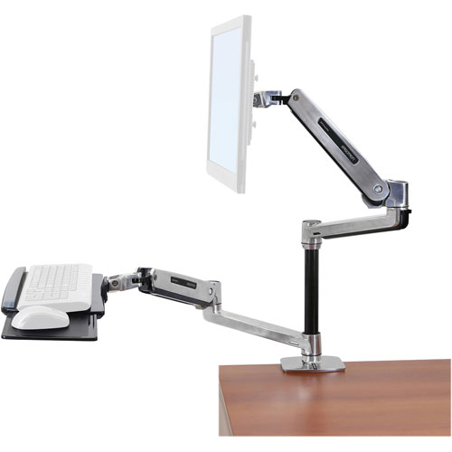Workfit-lx sit-stand workstation mount system, polished aluminum, sold as 1 each