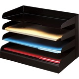 Desktop Organizer, 4 Tier, Legal, Horizontal, Black