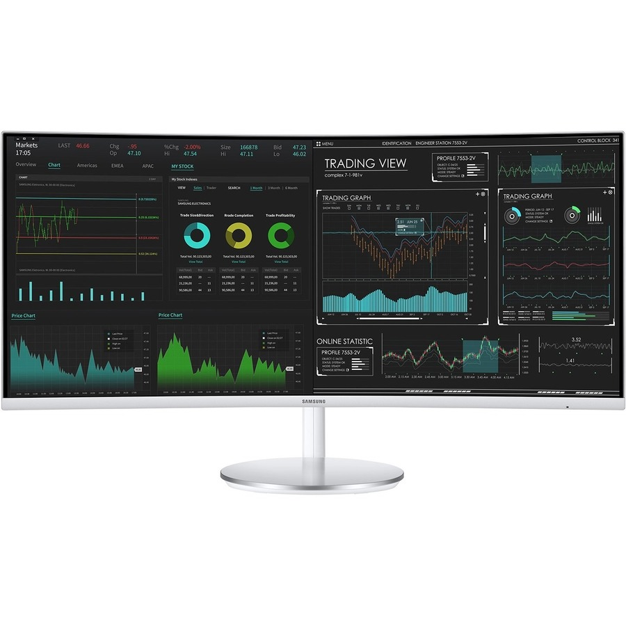 """Samsung C34J791WTN 34"""" Double Full HD (DFHD) Curved Screen Quantum Dot LED LCD Monitor - 21:9 - Silver, White"""