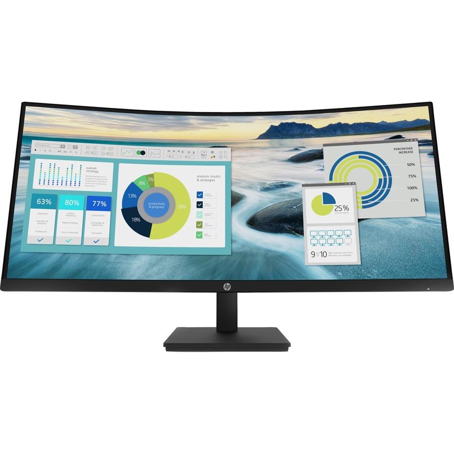 """HP P34HC G4 34"""" WQHD Curved Screen Edge LED LCD Monitor - 21:9 - Black"""