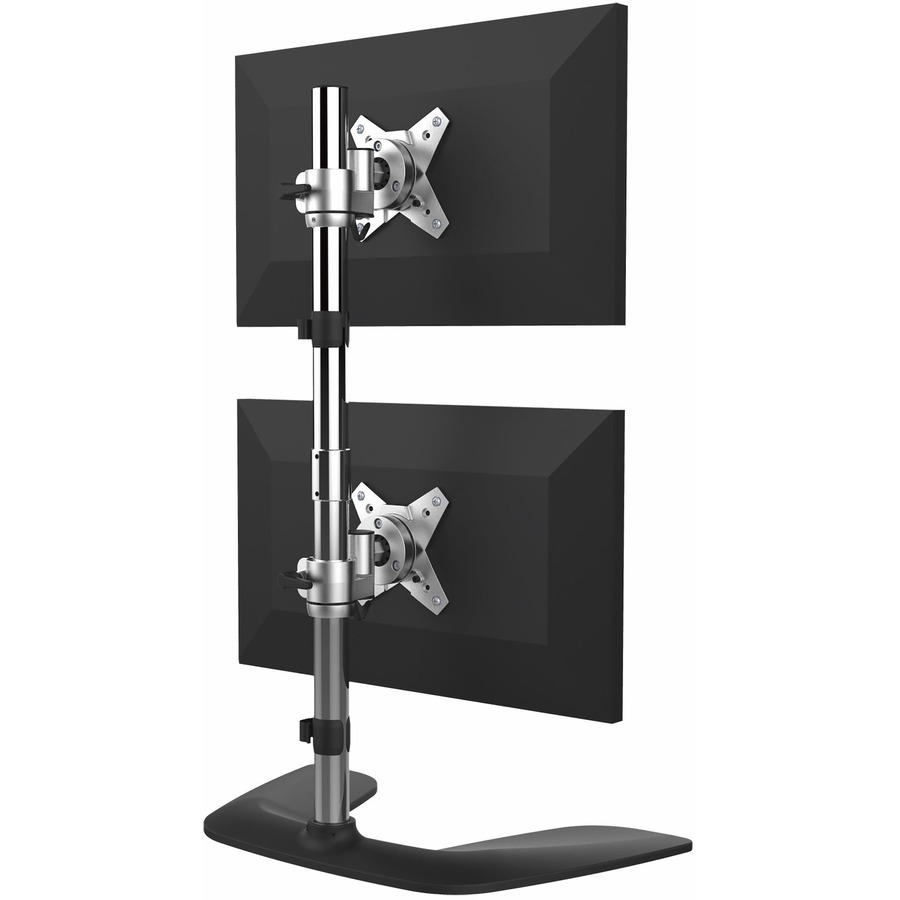 StarTech.com Vertical Dual Monitor Stand - Free Standing Height Adjustable Stacked Desktop Monitor Stand up to 27 inch VESA Mount Displays