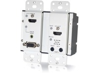 C2G 4K HDMI and VGA + Stereo Audio HDBaseT over Cat Extender Wall Plate Transmitter - White TAA