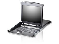 """Aten Slideaway CL5716 19"""" LCD Console with 16-Port KVMP Switch-TAA Compliant"""