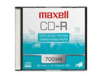 Maxell CD Recordable Media - CD-R - 48x - 700 MB - 1 Pack Slim Jewel Case