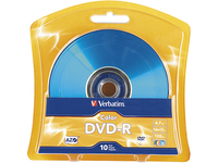 Verbatim AZO DVD-R 4.7GB 16X Vibrant Colors - 10pk Blister, Assorted