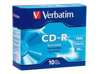 Verbatim AZO CD-R 700MB 52X DataLifePlus with Branded Surface - 10pk Slim Case