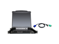 "ATEN 8-Port 19"" Single Rail USB/PS2 LCD KVM w/ Peripheral Sharing & 8 USB KVM Cables-TAA Compliant"