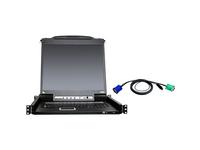 "ATEN 8-Port 19"" Single Rail USB/PS2 LCD KVM w/ Peripheral Sharing & 8 USB KVM Cables-TAA Compliant"