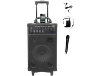PylePro 800 Watt Dual Channel Wireless Rechageable Portable PA System With iPod/iPhone Dock, FM Radio /USB/SD, Handheld Microphone, and Lavalier Microphone