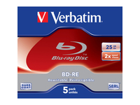 Verbatim BD-RE 25GB 2X with Branded Surface - 5pk Jewel Case