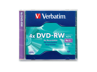 Verbatim DVD-RW 4.7GB 4X with Branded Surface - 1pk Slim Case
