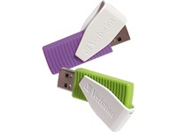 Verbatim 16GB Swivel USB Flash Drive - 2pk - Green, Violet