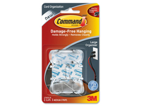 3M Cord Clips, Large, 3 Adhesive Strips, 2/Pack, Clear