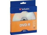 Verbatim DVD-R 4.7GB 16X with Branded Surface - 10pk Bulk Box
