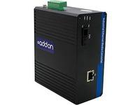 AddOn 1 10/100/1000Base-TX(RJ-45) to 1 1000Base-BXD(SC) SMF 1550nmTX/1310nmRX 20km Industrial Media Converter