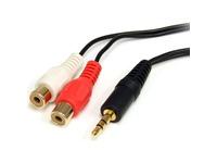 StarTech.com Startech RCA Audio Cable - 6ft - 1 x 3.5mm, 2 x RCA - Audio Cable External - Black