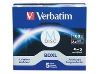 Verbatim Blu-ray Recordable Media - BD-R XL - 4x - 100 GB - 5 Pack Jewel Case