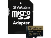 64GB Pro Plus 600X microSDHC Memory Card with Adapter, UHS-I V30 U3 Class 10