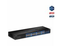 TRENDnet 28-Port Gigabit Web Smart Switch; 24 x Gigabit Ports; 4 x Shared Gigabit Ports (RJ-45/SFP); VLAN; QoS; LACP; IPv6; 56Gbps Switching Capacity; Lifetime Protection; TEG-284WS