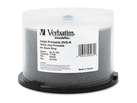 Verbatim DVD-R 4.7GB 16X DataLifePlus White Inkjet Printable, Hub Printable - 50pk Spindle