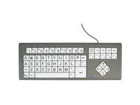 Ablenet BigKeys LX - QWERTY Wired Keyboard Black Print on 1-in/2.5-cm Large White Keys