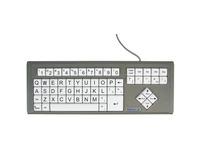 Ablenet BigKeys LX - QWERTY Wired Keyboard Black Print on 1-in/2.5-cm Large White Keys