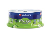 Verbatim CD-RW 700MB 4X-12X High Speed with Branded Surface - 25pk Spindle