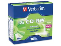 Verbatim CD-RW 700MB 4X-12X High Speed with Branded Surface - 10pk Slim Case