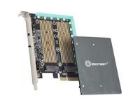 IO Crest M.2 M-key and M.2 B-key SSD RGB Adapter Card with Heatsink 12V ARGB PIN