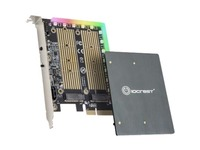 IO Crest M.2 M-key and M.2 B-key SSD RGB Adapter Card with Heatsink 5V ARGB PIN