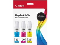 Canon GI-20 CMY Ink Bottle Value Pack