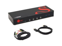 4 Port 4K 60HZ DisplayPort 1.2 KVM Switch with USB 3.0 and Multi-Media ports