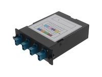 AddOn 4-Bay Cassette 12-Fiber MPO In, 4 LC Duplex Out, Multi-mode Duplex OS2