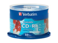 Verbatim CD-R 700MB 52X Silver Inkjet Printable - 50pk Spindle