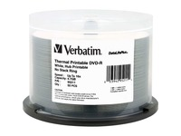 Verbatim DVD-R 4.7GB 16X DataLifePlus White Thermal Printable, Hub Printable - 50pk Spindle