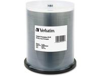 Verbatim CD-R 700MB 52X White Inkjet Printable, Hub Printable - 100pk Spindle