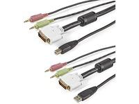 StarTech.com 4-in-1 USB DVI KVM Cable - Keyboard / video / mouse / audio extender - 4 pin USB Type A, mini-phone stereo 3.5 mm , DVI-I - mini-phone stereo 3.5 mm , 4 pin USB Type B, DVI-I - 3 m