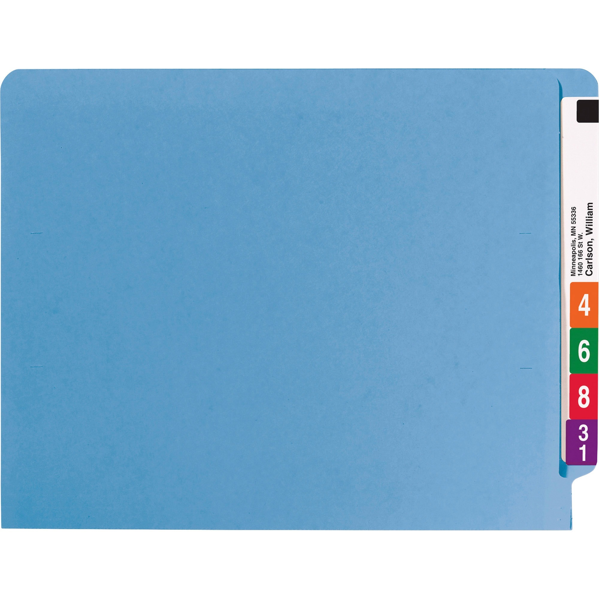 25040 Blue End Tab Colored Fastener File Folders with Reinforced Tab