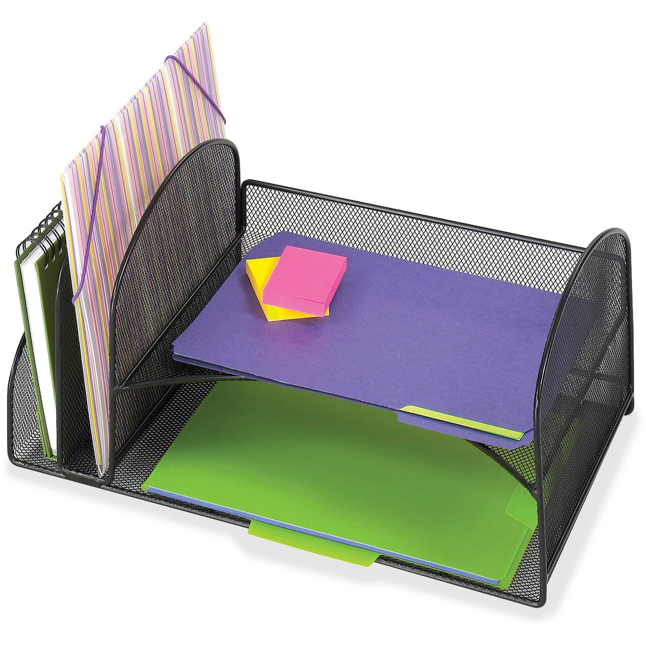Mesh Desk Organizer Offers Two Vertical File Sections For Folders And Horizontal Shelves Letter Size Doents Safco S Onyx Drawer