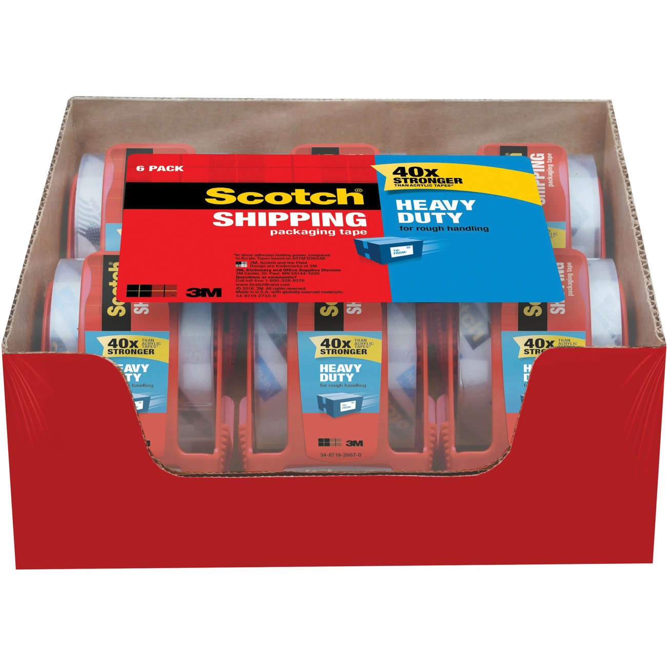 6 Rolls Heavy Duty Shipping Packing Seal Tape 40X Stronger 3M 1.88 X 54.6 Yards