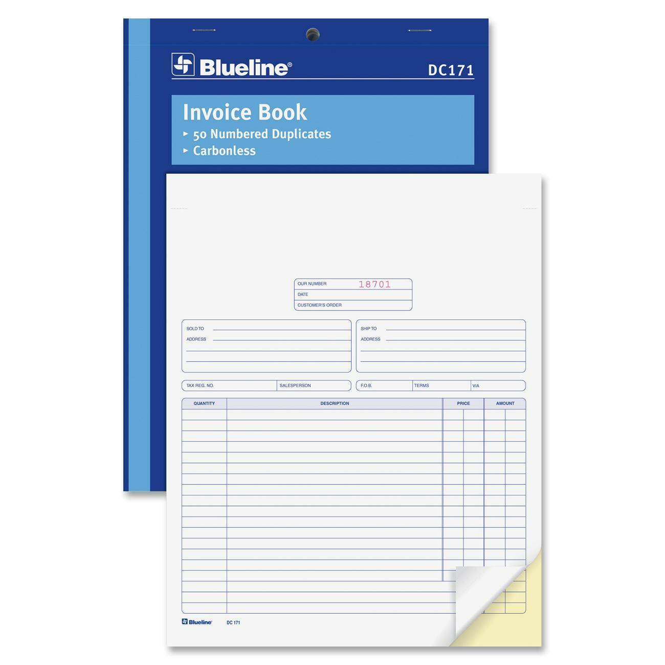 blueline invoice book 50 sheets 2 part carbonless copy