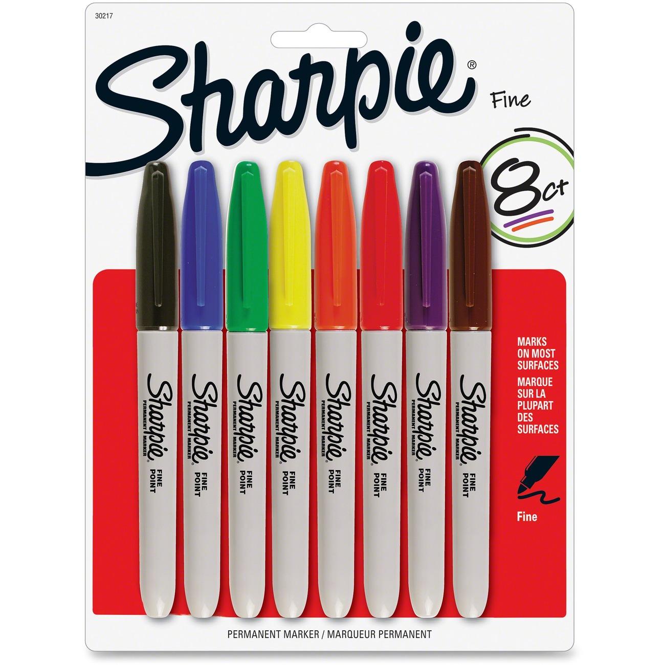 Sharpie Permanet Marker Assorted Ink san30217 Fine Marker Point Type 8 //