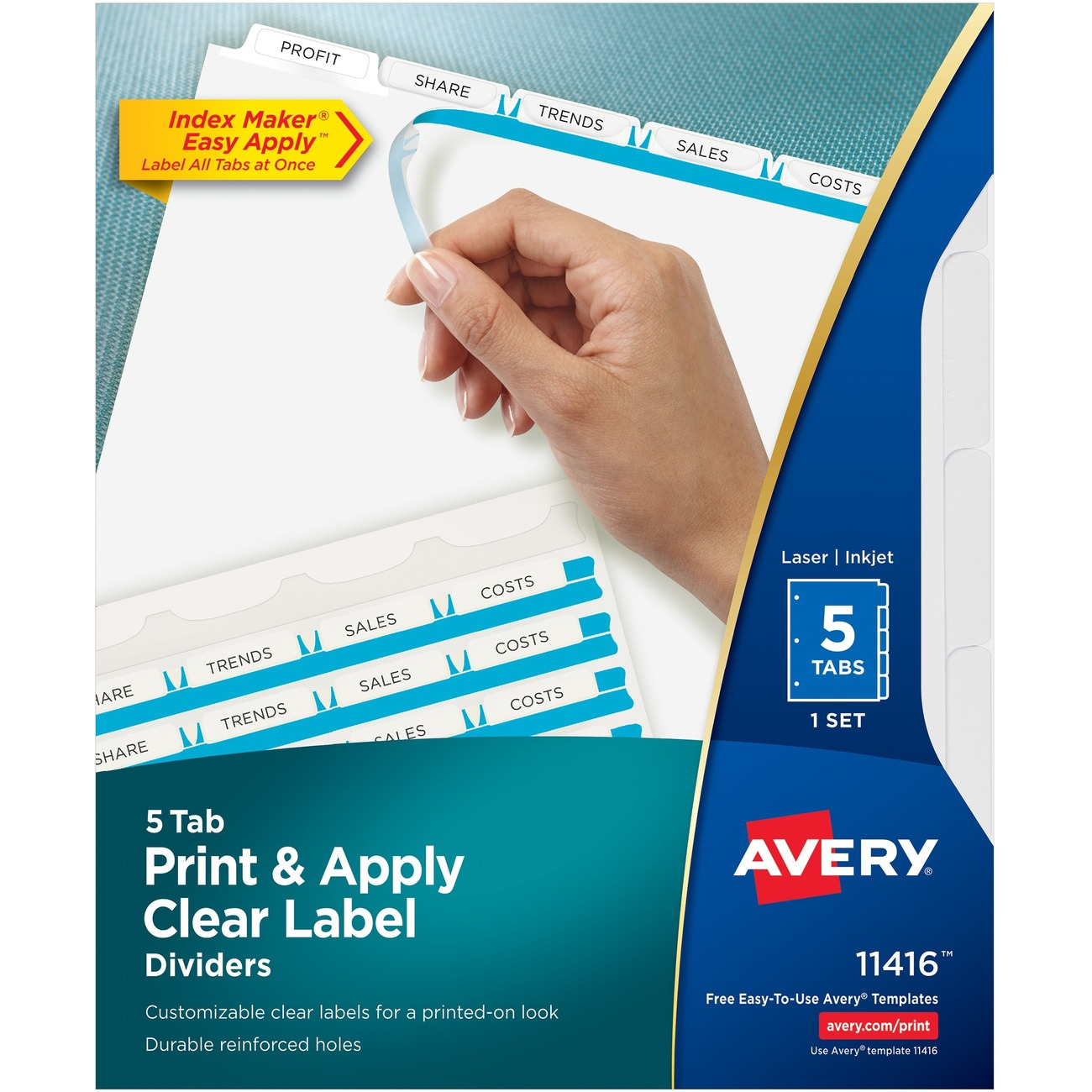 Avery Print Apply Clear Label Dividers Index Maker R Easy Apply Tm Printable Label Strip 5 White Tabs 1 Set 11416 5 Blank Tab S 5