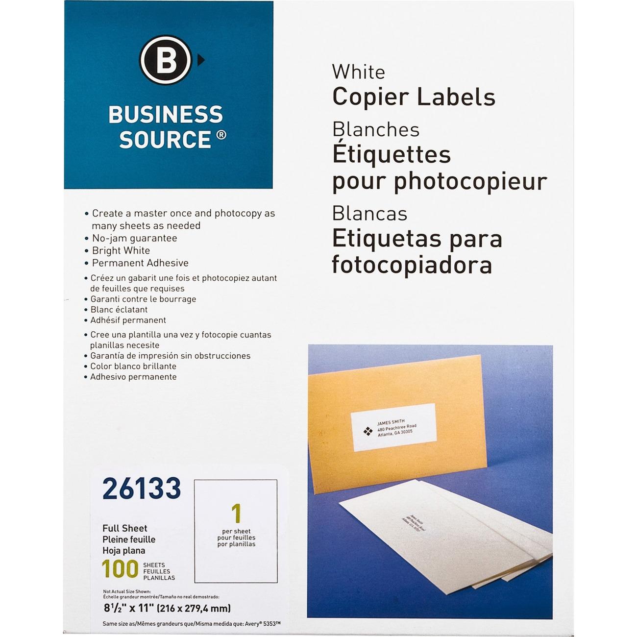 Premium White Copier Mailing Labels Full Sheet