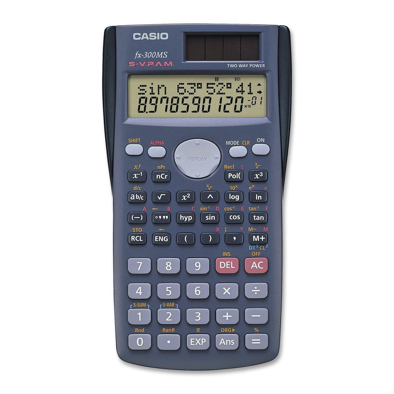 Casio FX300 Scientific Calculator - 240 Functions - Large Display - 2  Line(s) - 10 Digits - Battery/Solar Powered - 1