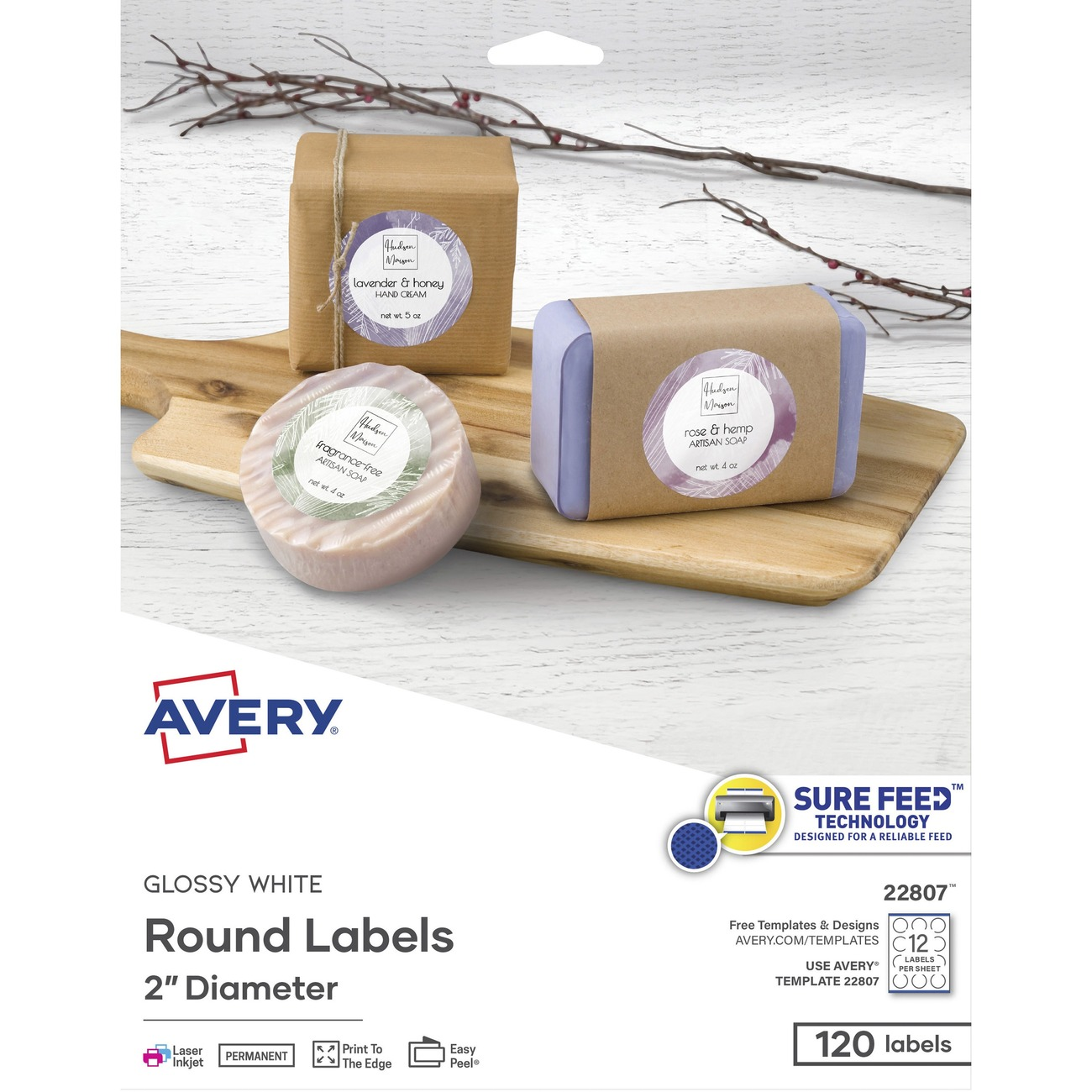 AVE 22807 Avery Easy Peel Print-to-the-Edge White Glosy Round Labels