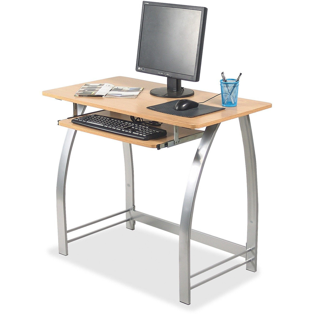 Sleek Computer Desk Provides A Great Space For Work On Your With Simple Structure And Convenient Installation Keep Keyboard The Handy