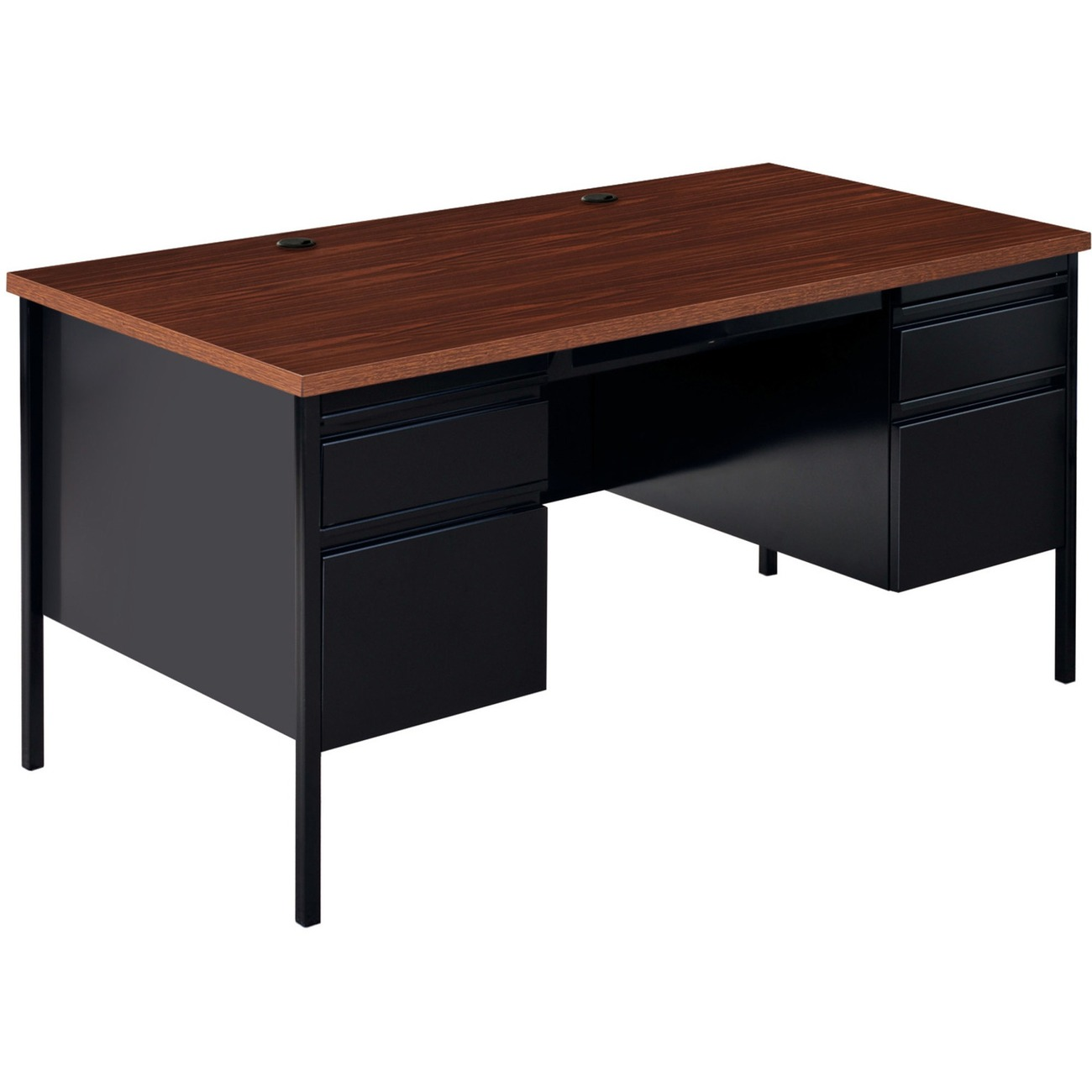 Double Pedestal Desk Is Part Of The Lorell Fortress Series A Practical And Professional Solution Ideal For Business Government Educational
